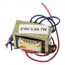 Transformator rețea 2*9V 0,8A 7W